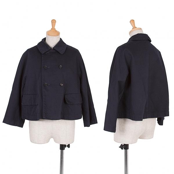 コムコム コムデギャルソンCOMME des GARCONS コットンダブルショートジャケット 紺S【中古】