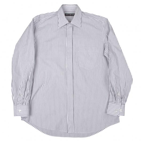 イッセイミヤケメンISSEY MIYAKE MEN コットンストライプシャツ 白黒グレー2【中古】 【メンズ】