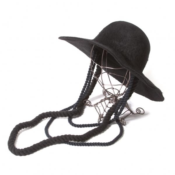 【SALE】ミュールバウアーMUHLBAUER ロープ装飾ワイドブリムハット 黒【中古】 【レディース】