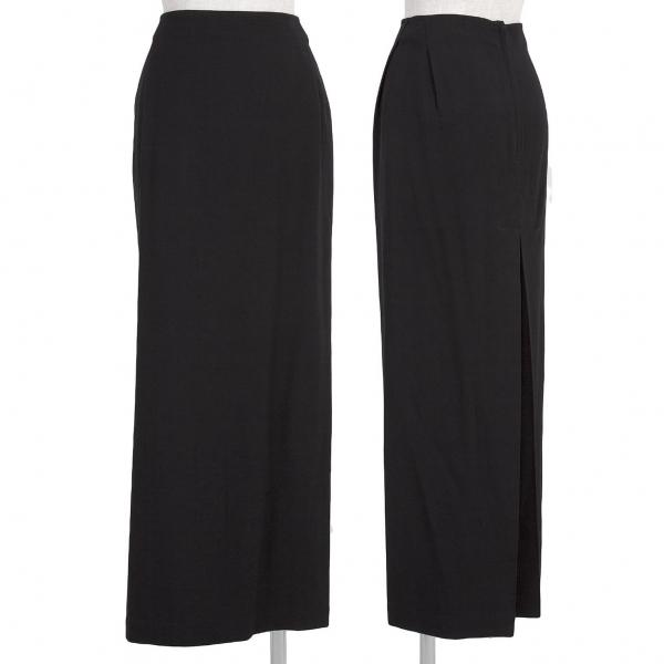 ワイズY's ウールギャバプリーツスリットスカート 黒2 お中元 レディース 中古 100%品質保証