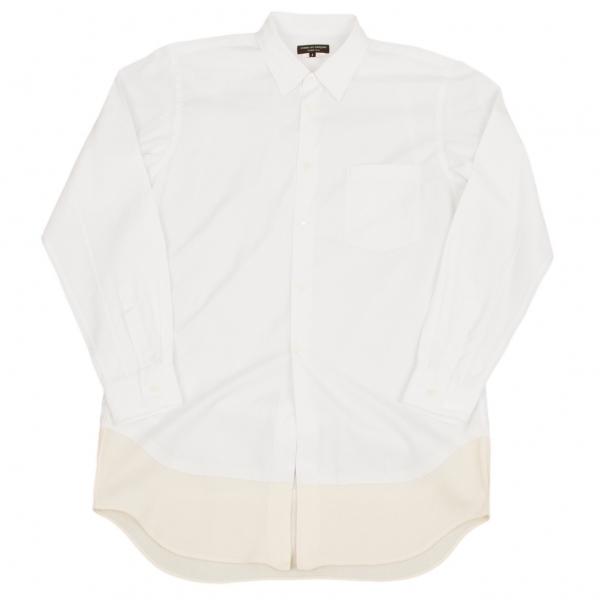 コムデギャルソンオムプリュスCOMME des GARCONS HOMME PLUS ウール裾切り替えコットンシャツ 白生成りS【中古】