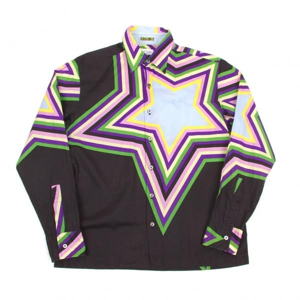 ポールスミスPaul Smith LONDON スタープリントコットンシャツ 黒紫緑他L【中古】 【メンズ】