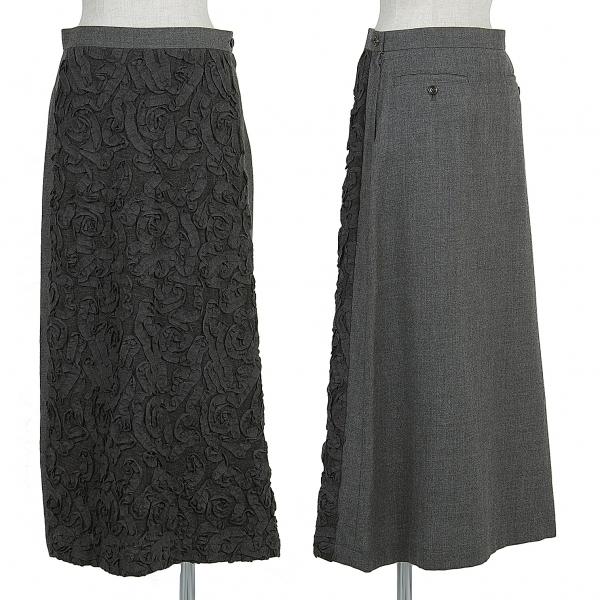 トリココムデギャルソンtricot COMME des GARCONS フロントテープデザインスカート 濃淡グレーM【中古】