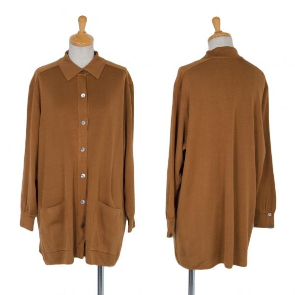 ヨシエイナバyoshie inaba リブニットシャツジャケット キャメルM位【中古】 【レディース】