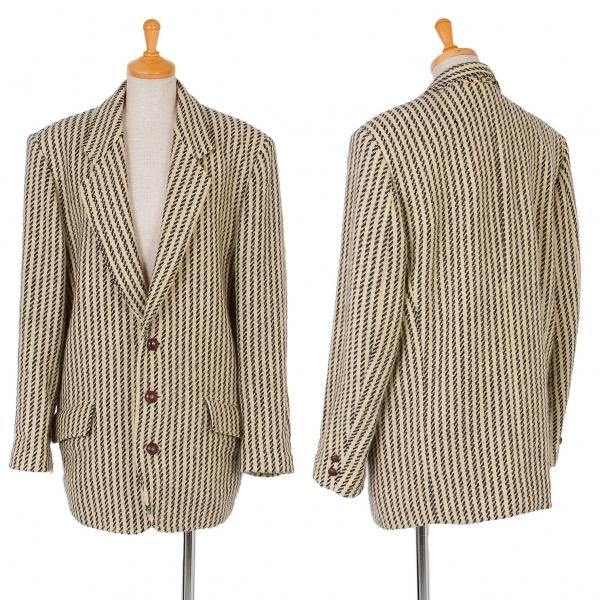 イッセイミヤケISSEY MIYAKE I.S. ストライプ織りジャケット ベージュ黒9【中古】
