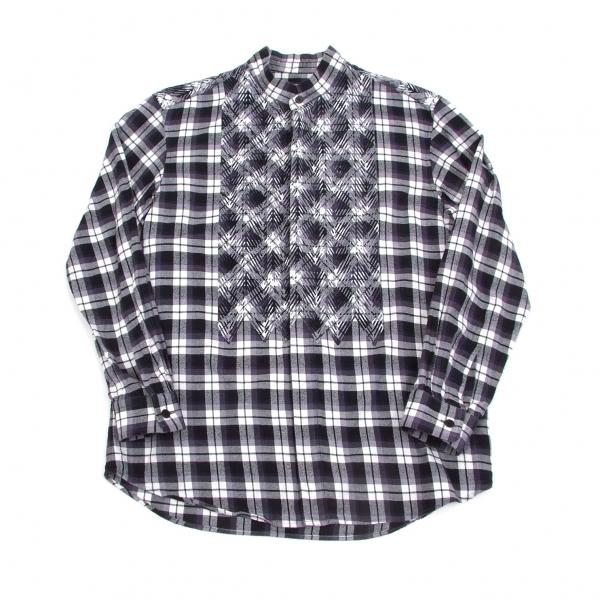 イッセイミヤケ メンISSEY MIYAKE MEN カットワーク貼り付けバンドカラーチェックシャツ 紺オフ2【中古】 【メンズ】