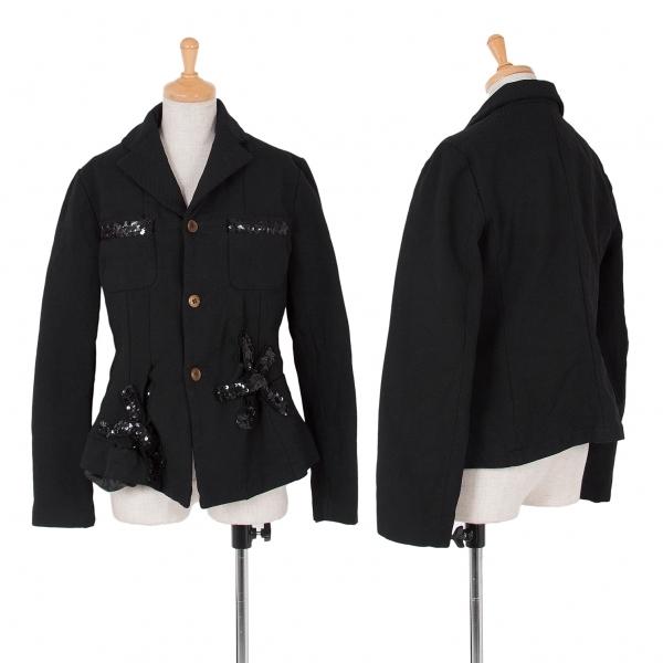 コムコム コムデギャルソンCOMME des GARCONS 製品染めスパンコール装飾ジャケット 黒L【中古】 【レディース】