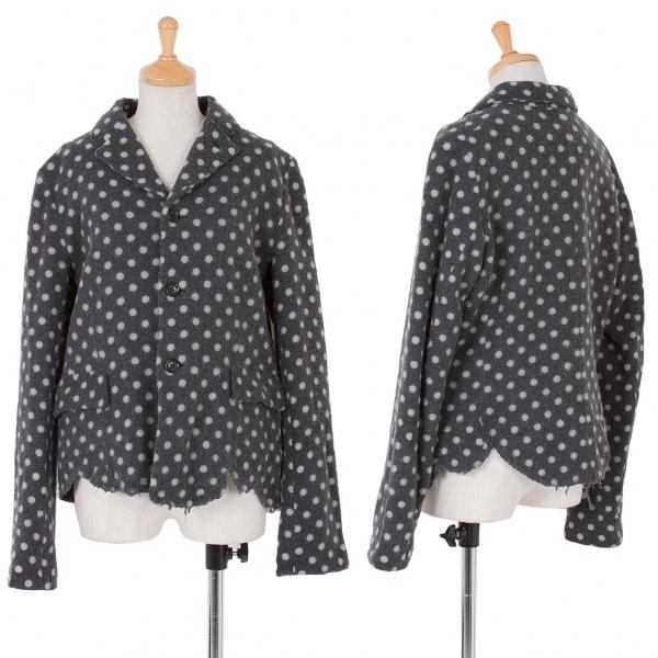 コムコム コムデギャルソンCOMME des GARCONS ウールドット縮絨裾カットデザインジャケット 濃淡グレーL【中古】 【レディース】