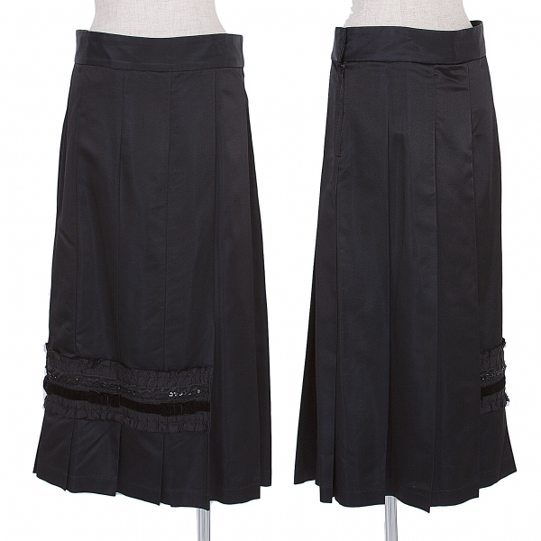 コムコム コムデギャルソンCOMME des GARCONS ポリシルク装飾プリーツスカート 黒M【中古】