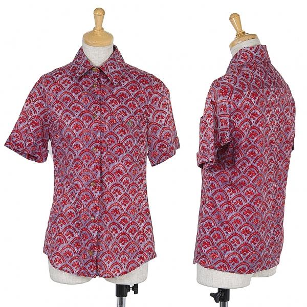 ヴィヴィアンウエストウッド レッドレーベルVivienne Westwood Red Label オーブ刺繍柄プリントシャツ 紫赤M位【中古】 【レディース】