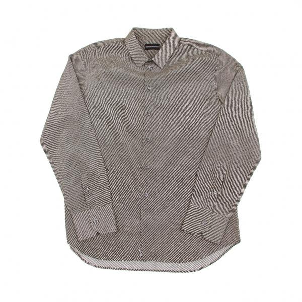 エンポリオアルマーニEMPORIO ARMANI バイアスゆがみストライプシャツ 茶白XL【中古】