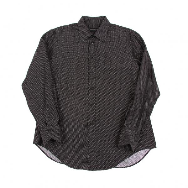 エンポリオアルマーニEMPORIO ARMANI レーヨンコットンステッチ柄織りシャツ 黒白XL【中古】 【メンズ】