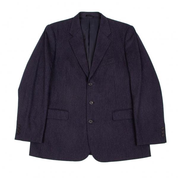 パパスPapas ゼニアカシミヤ混ウールストライプジャケット 紺グレー50(L)【中古】 【メンズ】