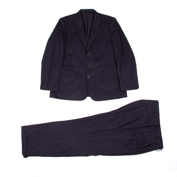 パパスPapas ゼニアカシミヤ混ウールストライプセットアップスーツ 紺グレー50(L)/54(XL)【中古】