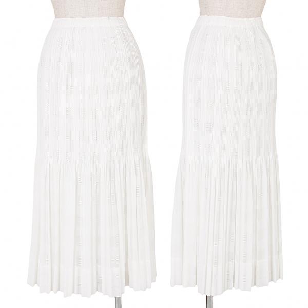 プリーツプリーズPLEATS PLEASE チェック織りメッシュプリーツスカート 白3【中古】