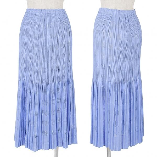 プリーツプリーズPLEATS PLEASE チェック織りメッシュプリーツスカート 水色3【中古】