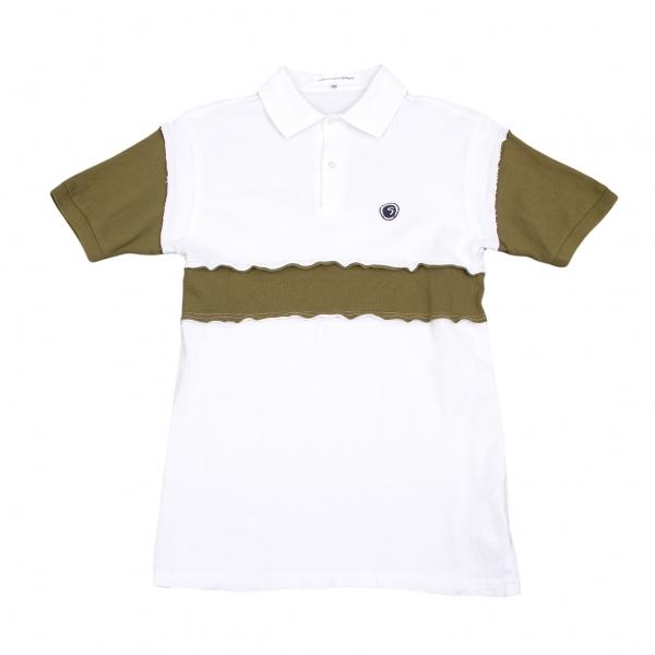 コムデギャルソンシャツCOMME des GARCONS SHIRT 切替デザイン鹿の子ポロシャツ 白カーキXS【中古】 【メンズ】