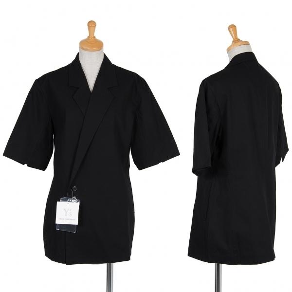 新品!ワイズY's コットン半袖カシュクールジャケット 黒3