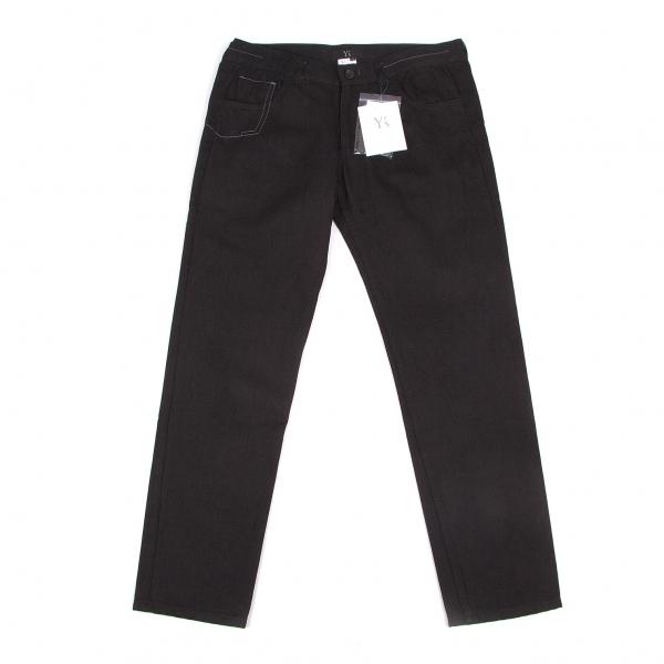 新品!ワイズY's コットンウールステッチデザインデニムパンツ 黒グレー2