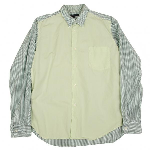 コムデギャルソンオムCOMME des GARCONS HOMME フロント切替チェックシャツ グリーン紺白他L【中古】 【メンズ】