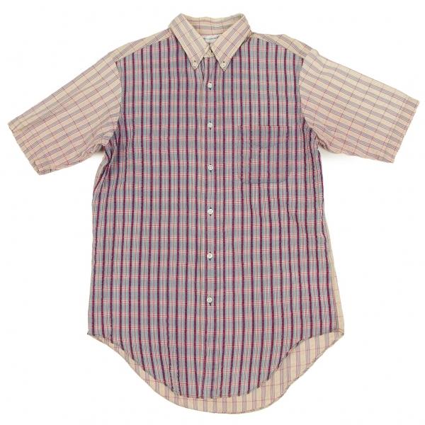 コムデギャルソンシャツCOMME des GARCONS SHIRT リップルチェック切替半袖シャツ 紫ピンクブルー他M【中古】 【メンズ】