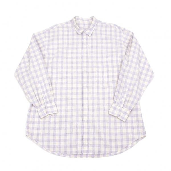 パパスPapas オーバーチェックシャツ 黄水色赤他L【中古】