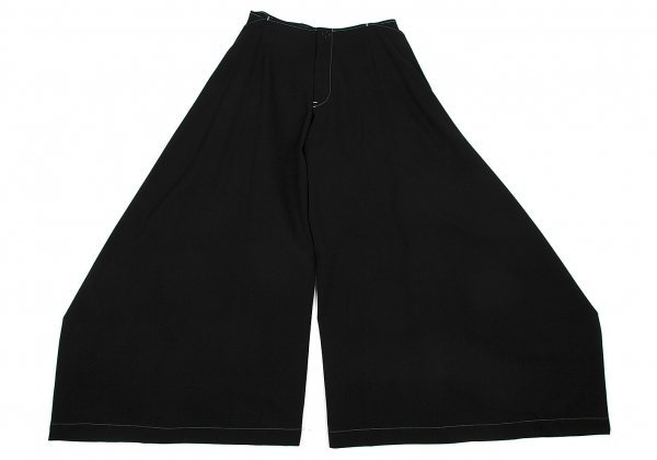ワイズY's ウールギャバラップデザインワイドパンツ 黒3【中古】