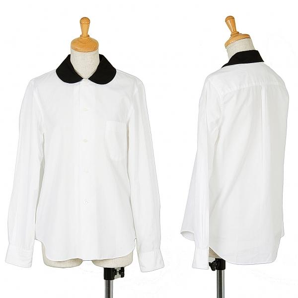 コムコム コムデギャルソンCOMME des GARCONS ラウンドカラーコットンシャツ 白黒SS【中古】 【レディース】