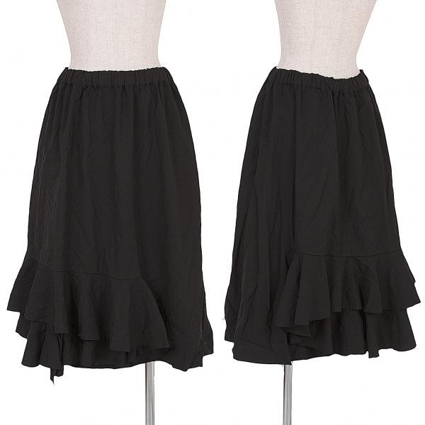 コムデギャルソンCOMME des GARCONS 製品染めポリティアードスカート 黒S【中古】
