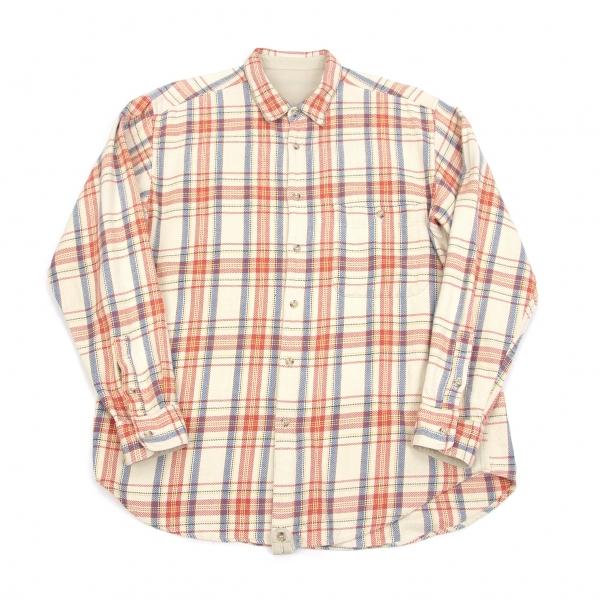 パパスPapas コットンチェックシャツ クリーム赤青M【中古】
