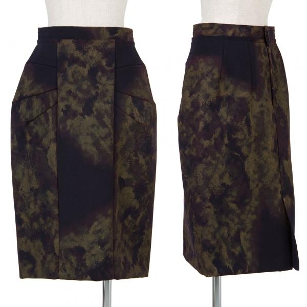 新品!コムデギャルソンCOMME des GARCONS プリントデザインスカート 黒茶XS