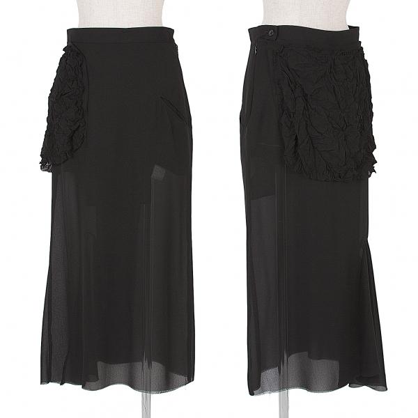 新品!ヨウジヤマモト ファムYohji Yamamoto FEMME 縮絨フリル装飾シフォンスカート 黒1