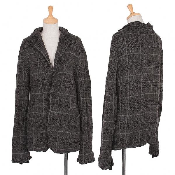 ワイズY's チェック柄ウールニットジャケット グレー黒3【中古】 【レディース】