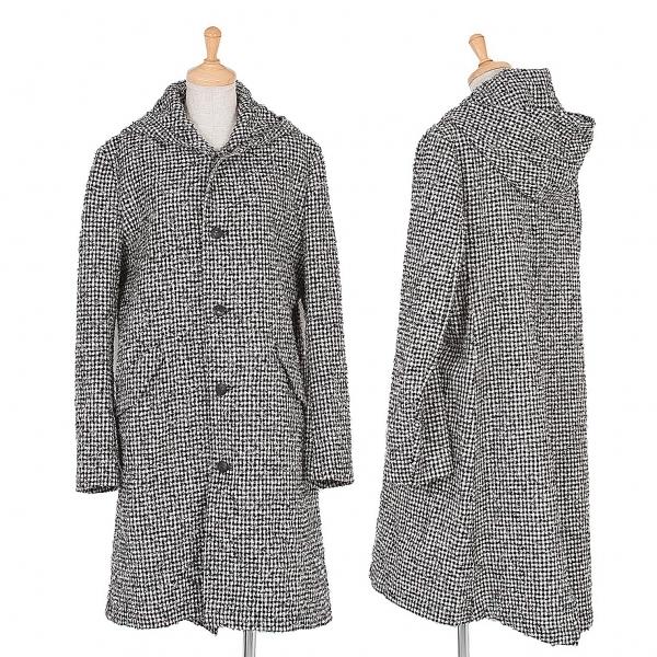 ワイズY's ピリングブロックチェックウールフーデッドコート 黒白2【中古】