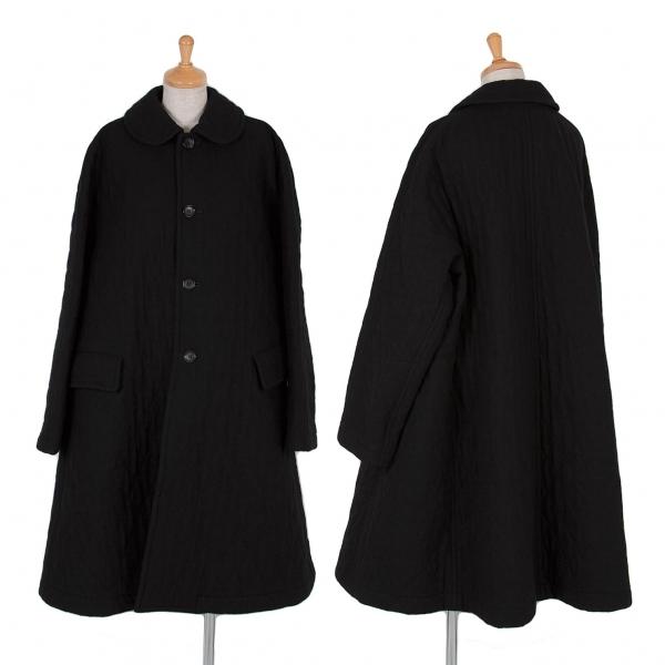 コムコム コムデギャルソンCOMME des GARCONS 丸襟ウールキルティングコート 黒L【中古】