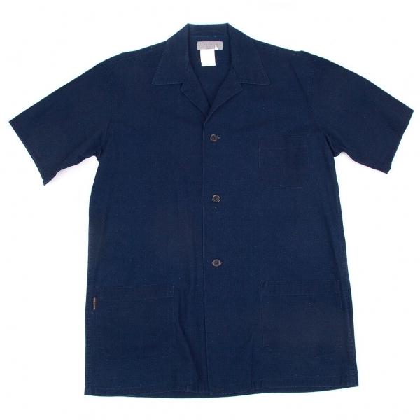 ヨウジヤマモトプールオムYohji Yamamoto POUR HOMME インディゴ染めオープンカラーパッチポケット半袖シャツ 青3【中古】