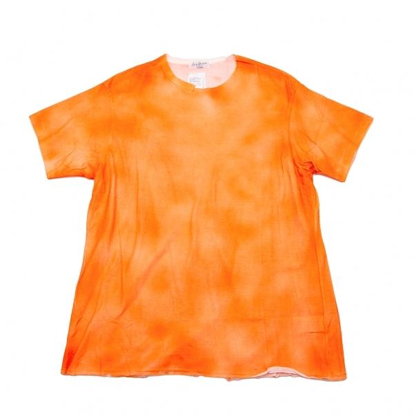 新品!ヨウジヤマモトプールオムYohji Yamamoto POUR HOMME 顔料プリントバックスリットTシャツ オレンジ3 【メンズ】