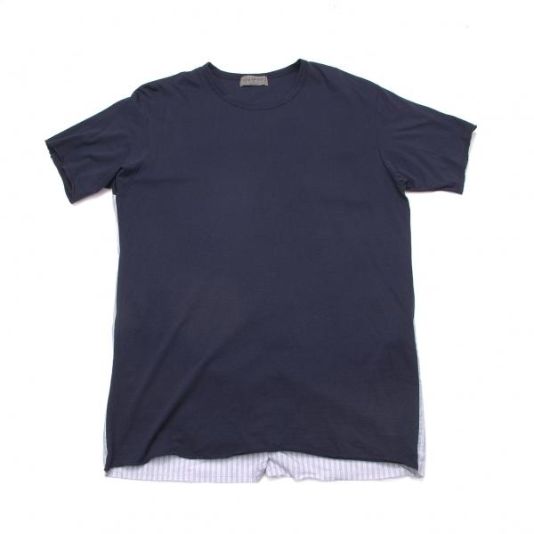ヨウジヤマモトプールオムYohji Yamamoto POUR HOMME バックシャツ切替デザインTシャツ 紺グレーオフ3【中古】