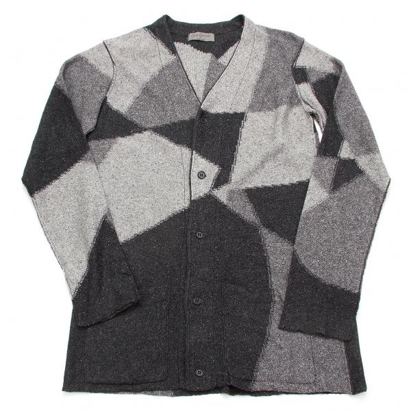 ヨウジヤマモトプールオムYohji Yamamoto POUR HOMME パッチワーク織りデザインカーディガン 濃淡グレー茶黒3【中古】