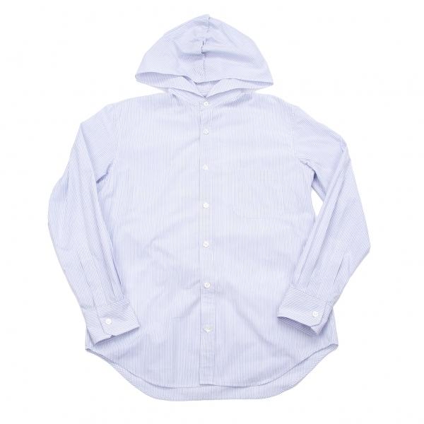 ヨウジヤマモトプールオムYohji Yamamoto POUR HOMME ボタンフードストライプシャツ ブルー白2【中古】 【メンズ】