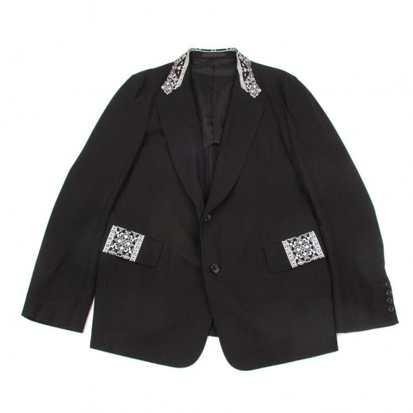 ワイズフォーメンY's for men コットンギャバ刺繍ジャケット 黒オフ2【中古】