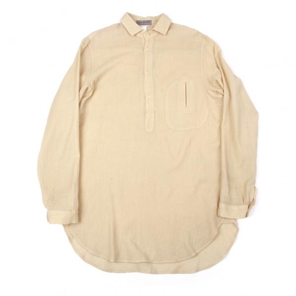 ヨウジヤマモトプールオムYohji Yamamoto POUR HOMME ウールデザインポケットプルオーバーシャツ ベージュ3【中古】