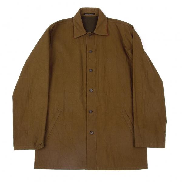 ヨウジヤマモトプールオムYohji Yamamoto POUR HOMME アジアの少年 ベルトデザインキャンバスリバーシブルシャツジャケット 茶赤3【中古】