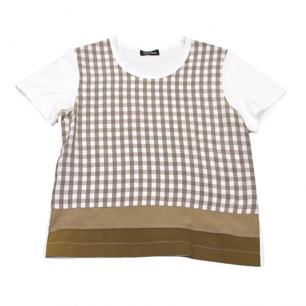 トリココムデギャルソンtricot COMME des GARCONS フロントチェック切替Tシャツ 濃淡茶オフM位【中古】