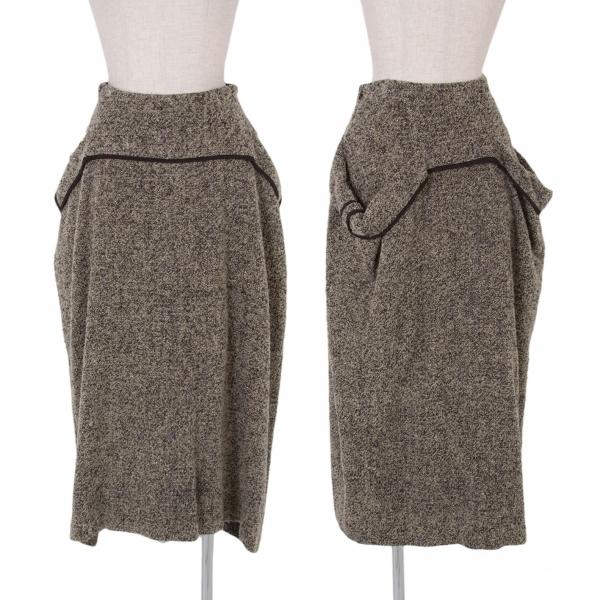 ヨウジヤマモト ファムYohji Yamamoto FEMME パイルレイヤードデザインスカート ベージュ黒紫1【中古】