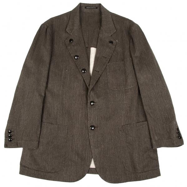 ヨウジヤマモトプールオムYohji Yamamoto POUR HOMME リネンラペルボタンパッチポケットジャケット グレー3【中古】 【メンズ】