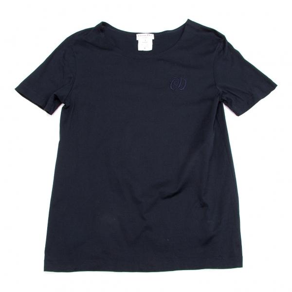クリスチャンディオールChristian Dior コットンロゴ刺繍Tシャツ 紺L【中古】 【レディース】