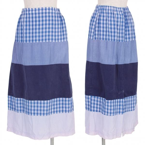 トリココムデギャルソンtricot COMME des GARCONS 製品染めチェック切替デザインスカート 紺ブルー濃淡S【中古】