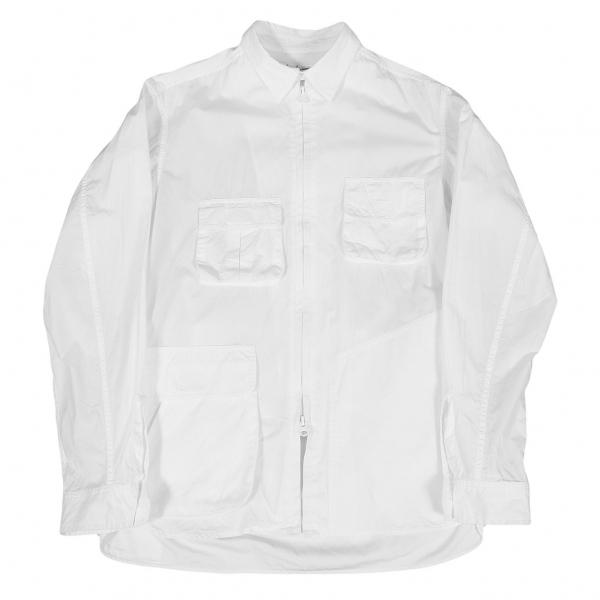 ヨウジヤマモト プールオムYohji Yamamoto POUR HOMME コットンポケットデザインジップアップシャツ 白3【中古】