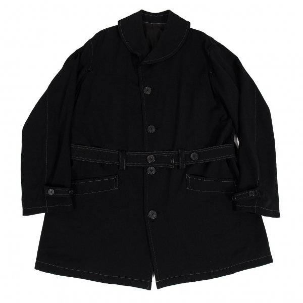 ワイズフォーメンY's for men ヘチマカラーウールステッチデザインコート 黒L【中古】 【メンズ】